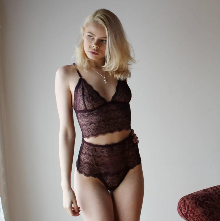 Свадьба - Lingerie Set, Lace Lingerie, Purple Lingerie, 2 piece Set, Womens Lingerie Set, Sheer Lingerie, High Waisted, Lace Bralette, Sexy Lingerie