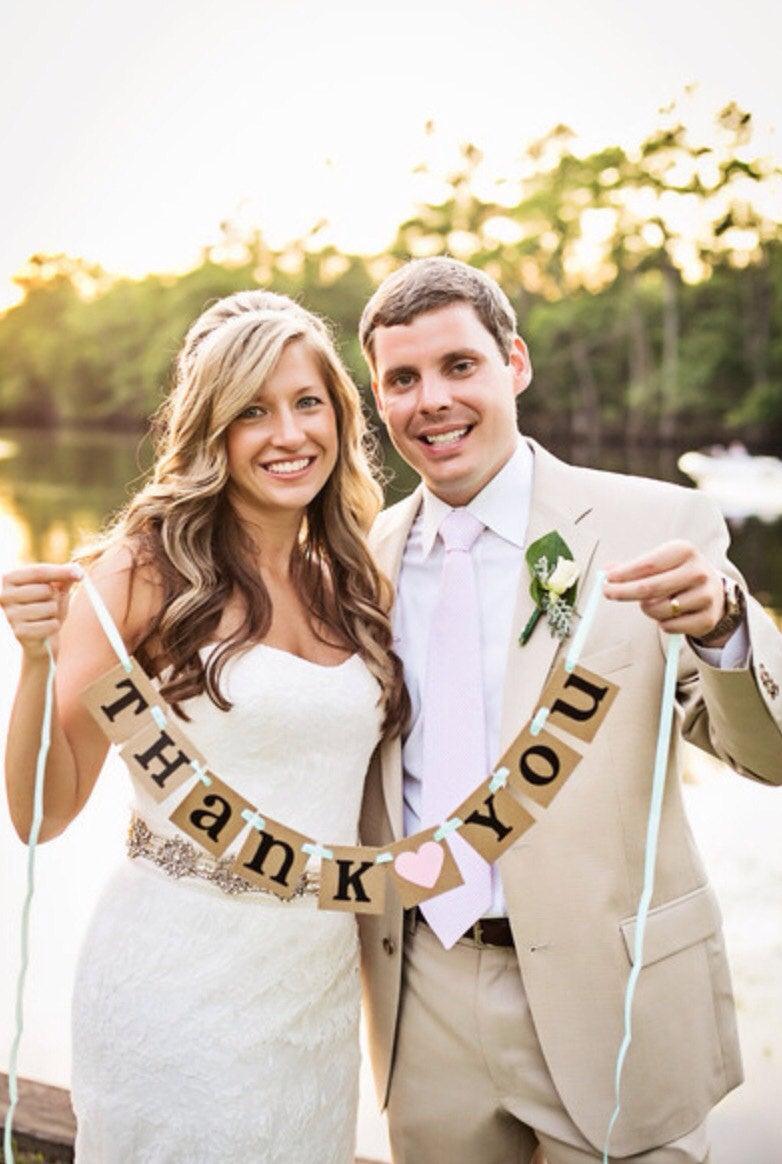 Mariage - mini Thank You Banner / Wedding Garland / Rustic Banner / Thank You Card / Photo Prop / Wedding Thank You/ Wedding Decoration