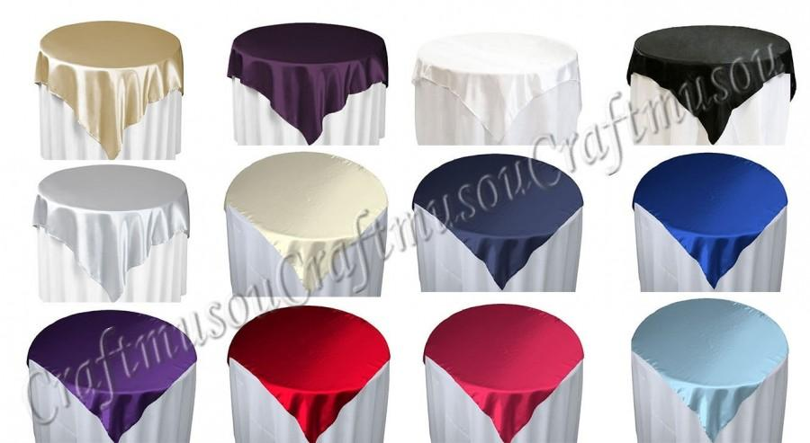 Свадьба - 60 inch Square Satin Linen Table Overlay Tablecloth