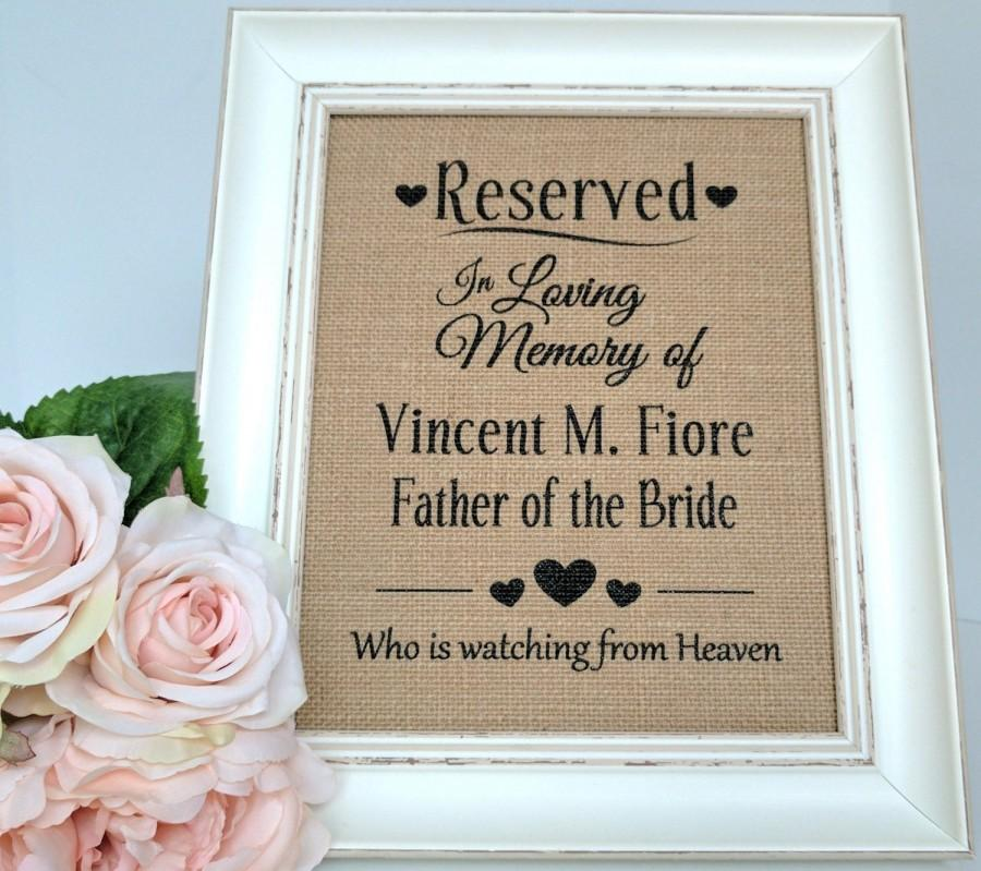 Mariage - Reserved Sign - Reserved Wedding Sign - Wedding Memorial Sign - Wedding Reserved Sign - Wedding Memory Sign - In Loving Memory Sign