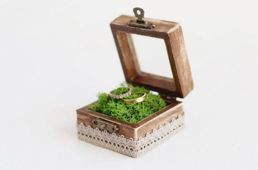 Mariage - Rustic Wedding Ring Box With Moss - Glass Box, Ring Bearer Box For Ceremony, Wooden Wedding Box, Romantic Wedding, Wood Box With Glass Top