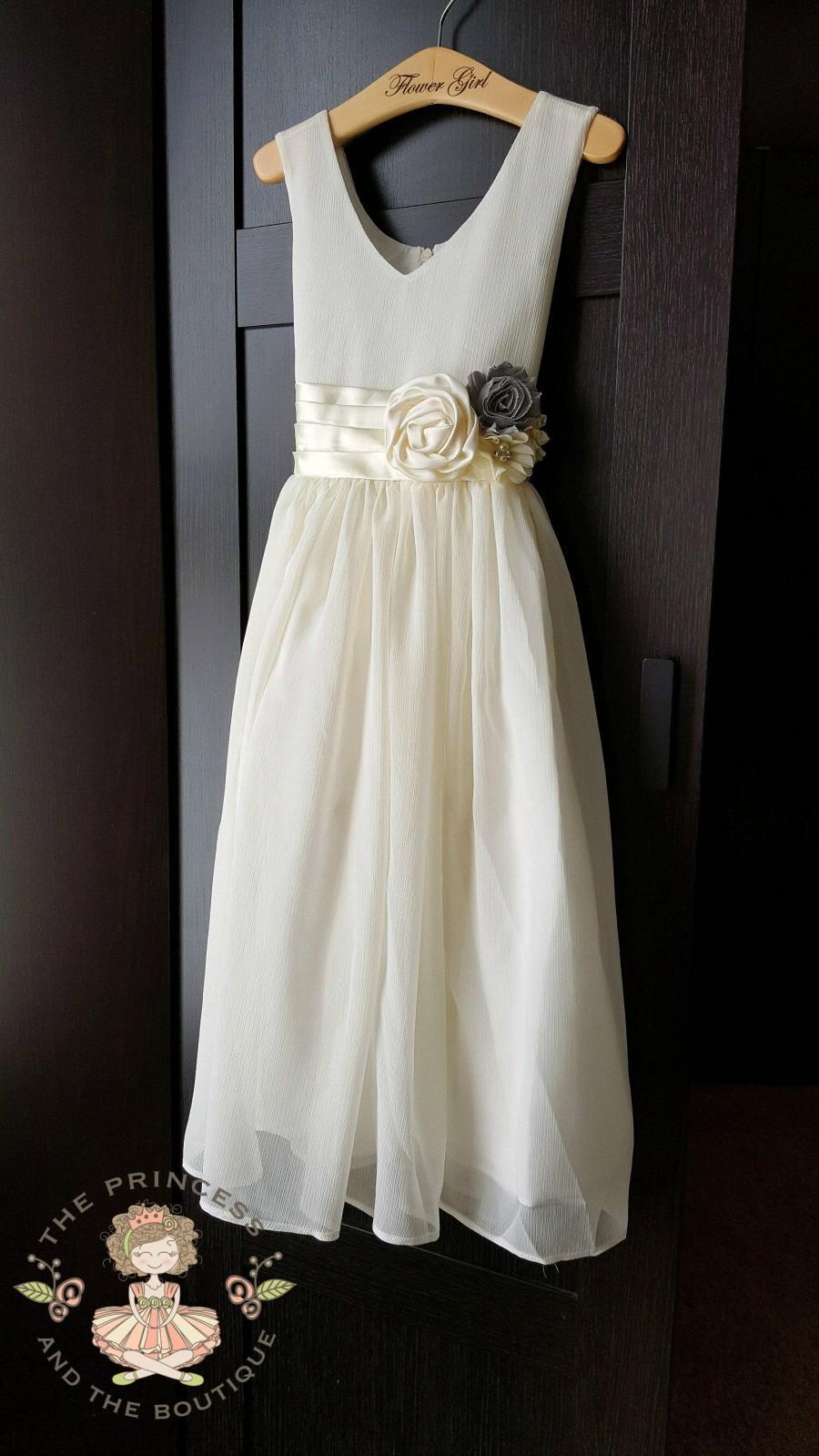 زفاف - Ivory chiffon flower girl dress, ivory flower girl dress, chiffon dress, chiffon girls dress, flower girl dress, flower girl dress ivory,