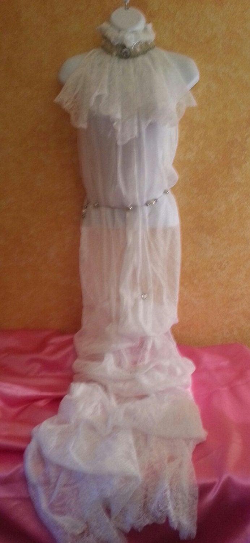 زفاف - Sample Gown Listing / Beautiful Bohemian Beach Bridal Gown Faux Pearls Rhinestones Boho Garden Wedding Party Gypsy Hippie (Without Lining)