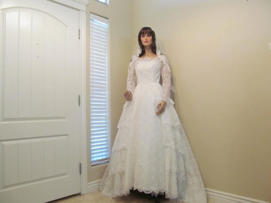Свадьба - 1950's 60's Vintage Long Vintage White Lace Wedding Gown Sequins Pearls Short Train Long Pointed Lace Sleeves