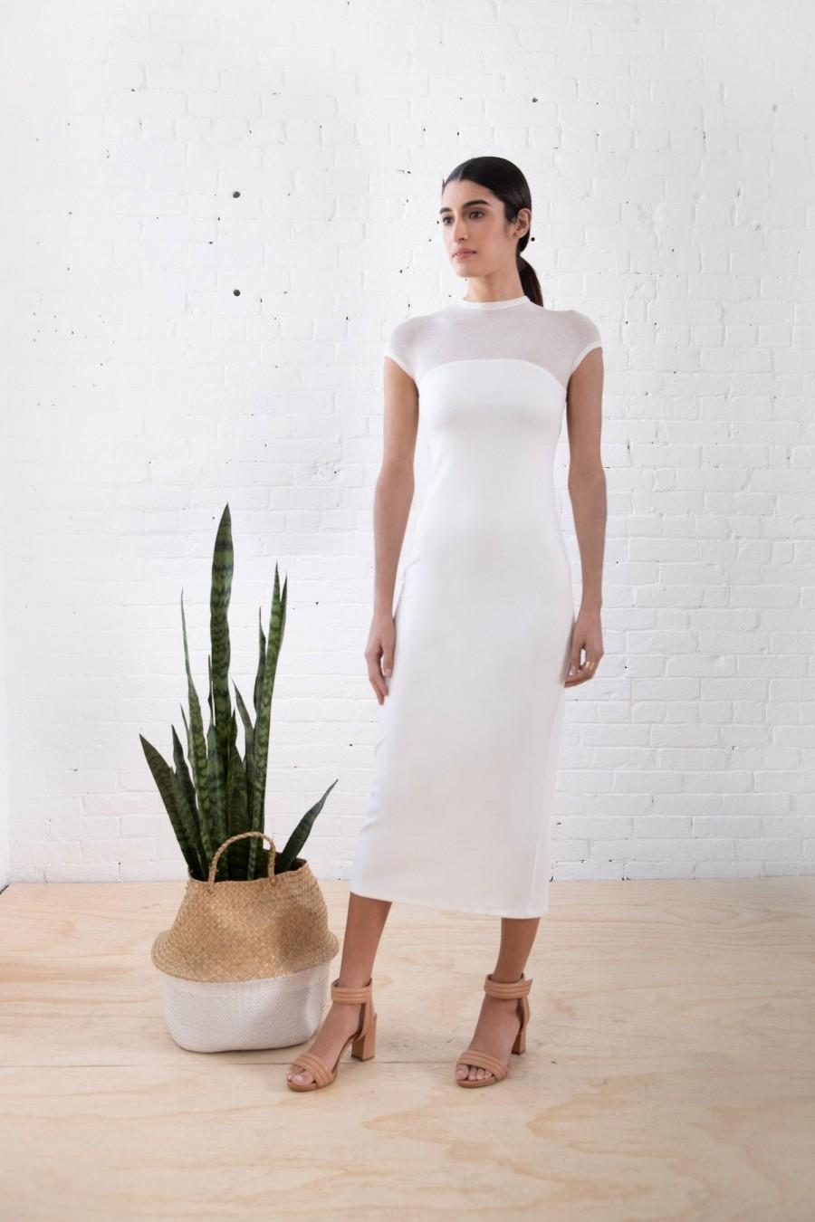 زفاف - A Line Midi Dress, Tea Length Dress, White Evening Dress, White Midi Dress, Elegant Midi Dress, Short Sleeve Dress, Miranda Dress, MD1251