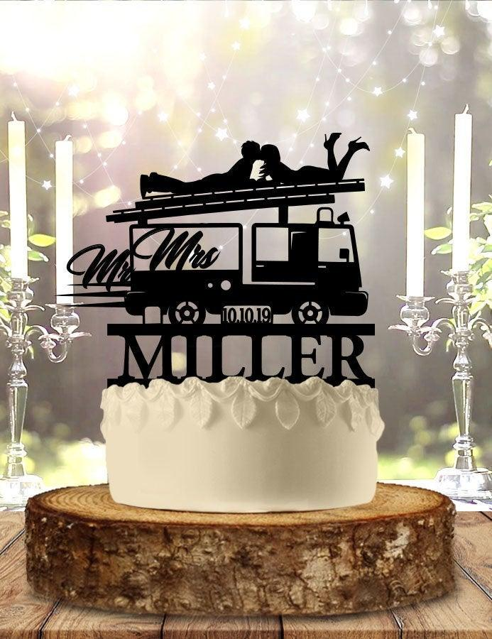 Свадьба - Fireman Couple On Truck Personalized Wedding Cake Topper