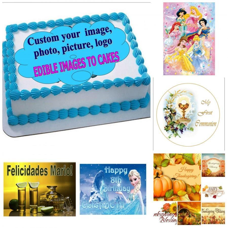 Свадьба - EDIBLE CAKE TOPPER photo image custom/personalized any image (english/spanish)