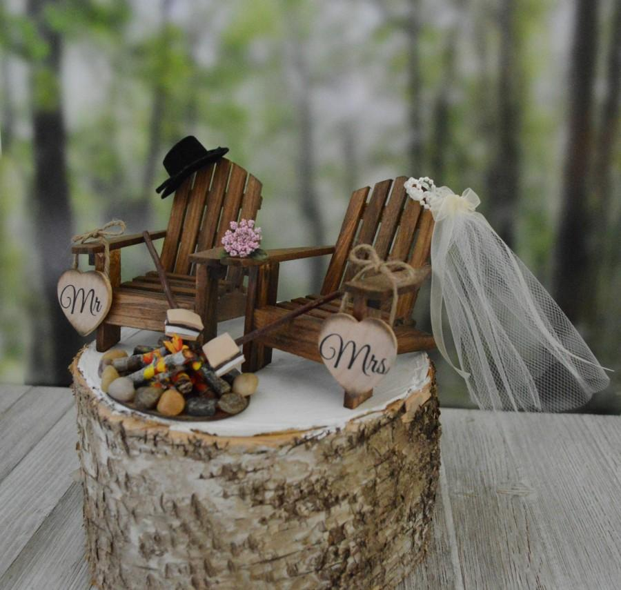 Mariage - S'mores themed camping wedding cake topper fire pit Mr&Mrs wedding signs bride groom country rustic weddings fall camp fire Adirondack chair