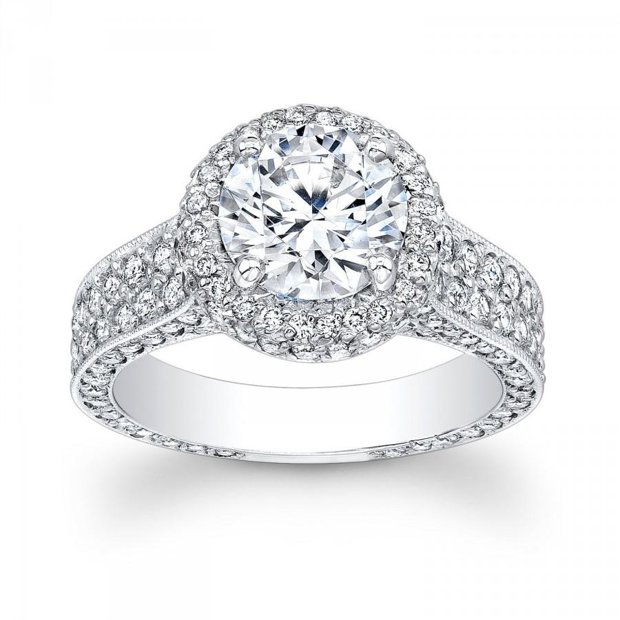 Wedding - Women's 14k white gold pave halo engagement ring with 2 ct Round white sapphire and 1.60 ctw diamonds