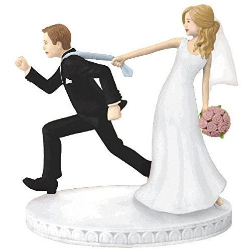 Wedding - Wedding Cake Topper Bride and Groom Figurines Funny Runaway Decorations