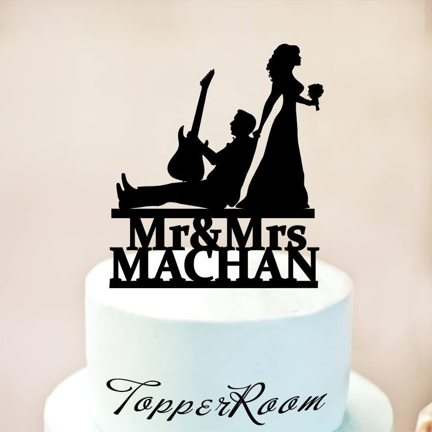 Wedding - Guitar Player Cake Topper,Musician and Bride silhouette,Musician Wedding Cake Topper,Wedding Cake Topper,Music Wedding Cake Topper (1189)