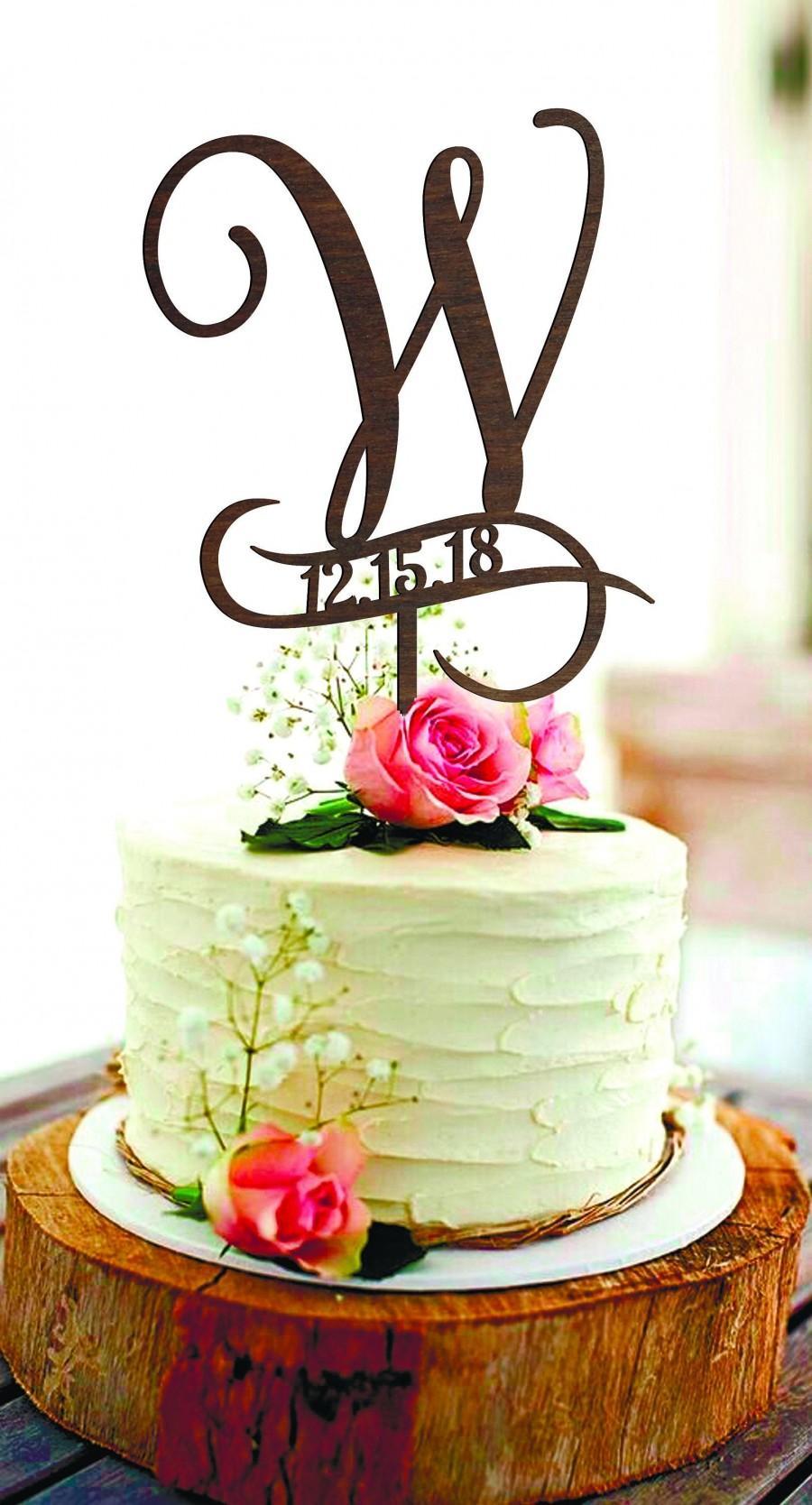 Wedding - Cake Topper W Сake topper Rustic weding Cake Topper Personalized cake topper date Initial cake topper wood letter W Cake toppers for wedding