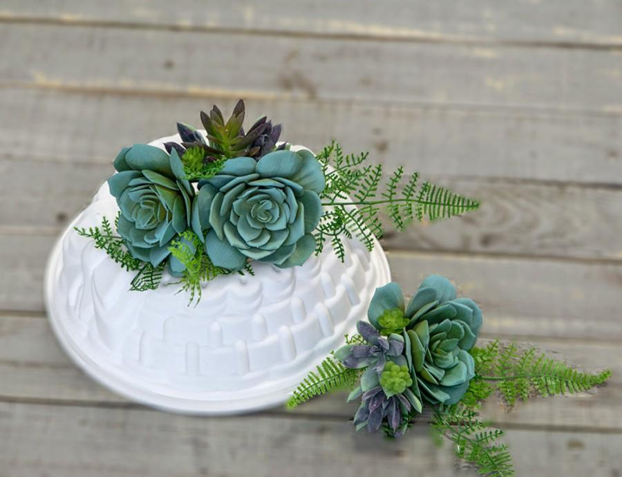 Wedding - Succulent Wedding, Cake Topper, Cake Flowers, Succulent, Cake Decor, Rustic Cake Topper, Cake Decor, Boho Cake Decor, Succulent Cake Decor
