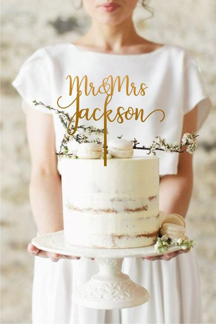 Wedding - Gold Rustic Wedding Cake Topper, Mr and Mrs Cake Topper, Custom Your Own Last Name