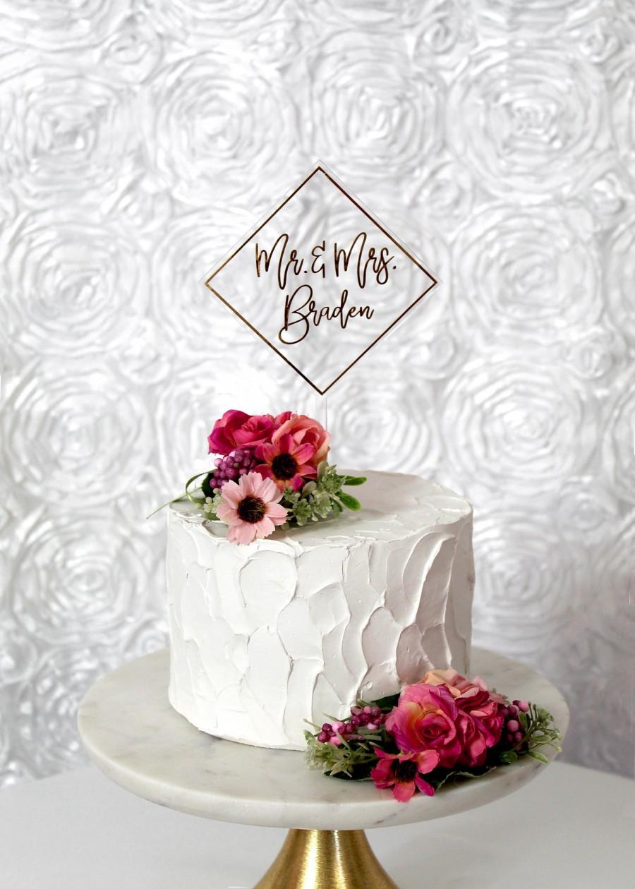 Wedding - Clear Floating Cake Topper with Gold Foil, Clear Acrylic Wedding Cake Decor, Laser Cut Mr. & Mrs. Cake Sign