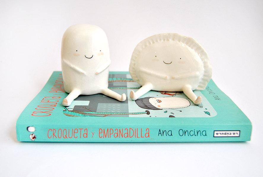 Wedding - Set of Two Figures of Croqueta and Empanadilla by Ana Oncina. Ceramic Cake Toppers. Wedding Gifts. Ready To Ship