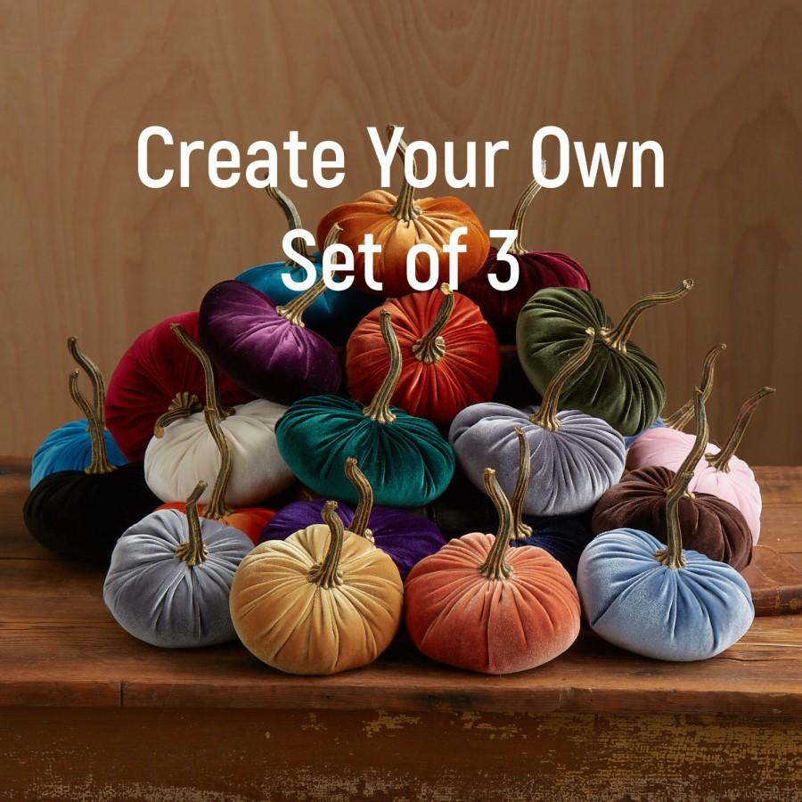 Wedding - Velvet Pumpkins Create Your Own Set of 3, Fall decoration, table centerpiece, modern rustic wedding decor, hostess gifts, best selling items
