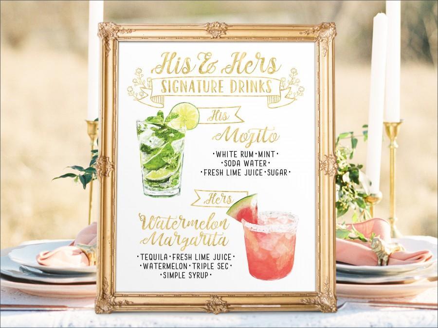 زفاف - Digital Printable Wedding Bar Menu Sign, His and Hers Signature Drinks Cocktails Signs Watercolor Drinks Chalkboard Christmas New Year IDM16