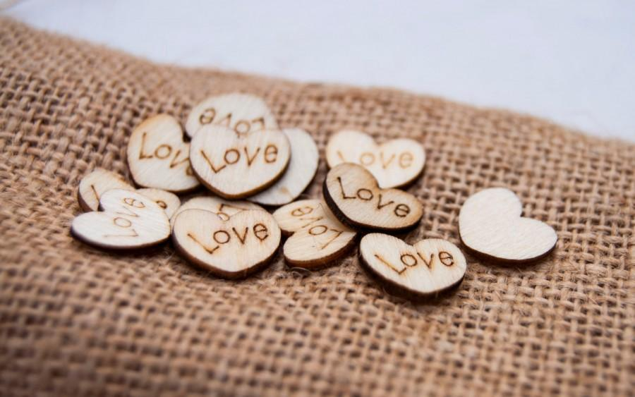 Wedding - 100 Wedding Table Scatter Wood Hearts (1/2 inch diameter) • Rustic Wedding Confetti • Heart Table Scatter • Wood Love Hearts Table Confetti