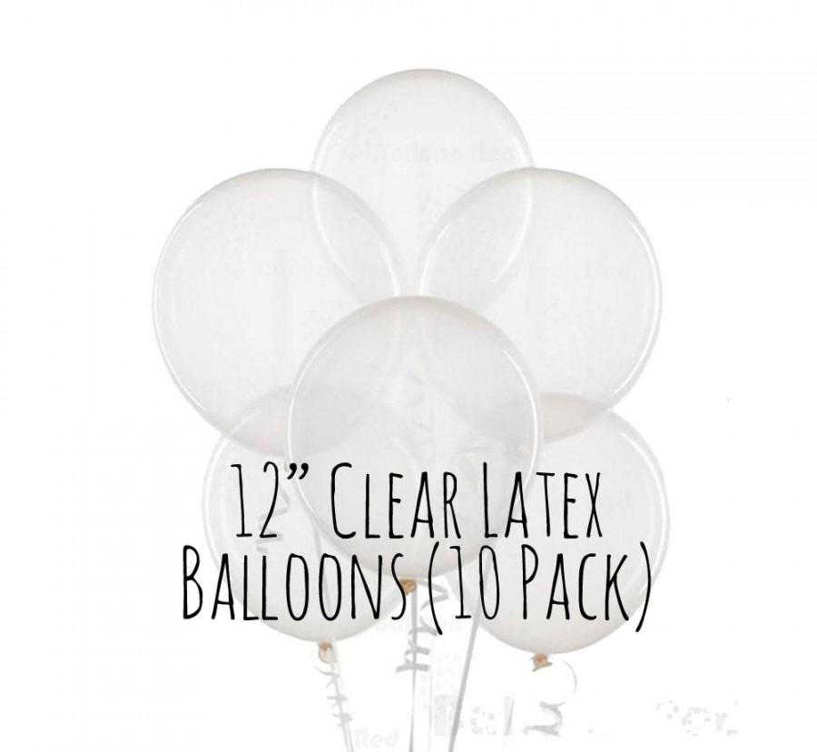 "Wedding - 12"" Clear Balloons, 12 Inch Transparent Balloons, 1 ft Clear Latex Balloon, Party Decorations, Wedding Decor, Birthday Decoration"