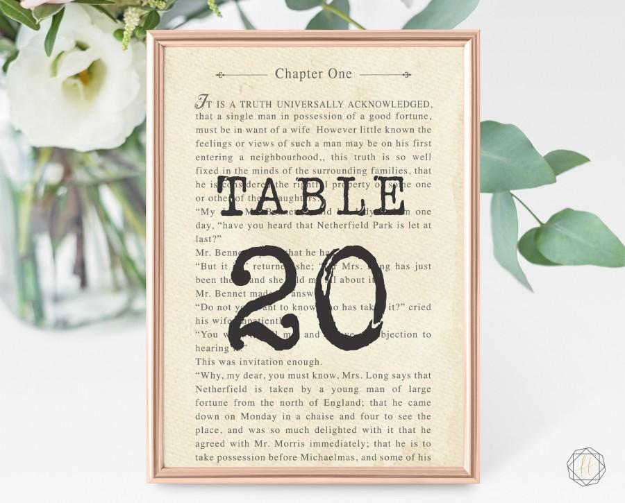 زفاف - Wedding Table Numbers, Table Numbers, Literary Wedding, Book Page Table Number, Book Themed Wedding, Table Number Card, Printable, #LCS
