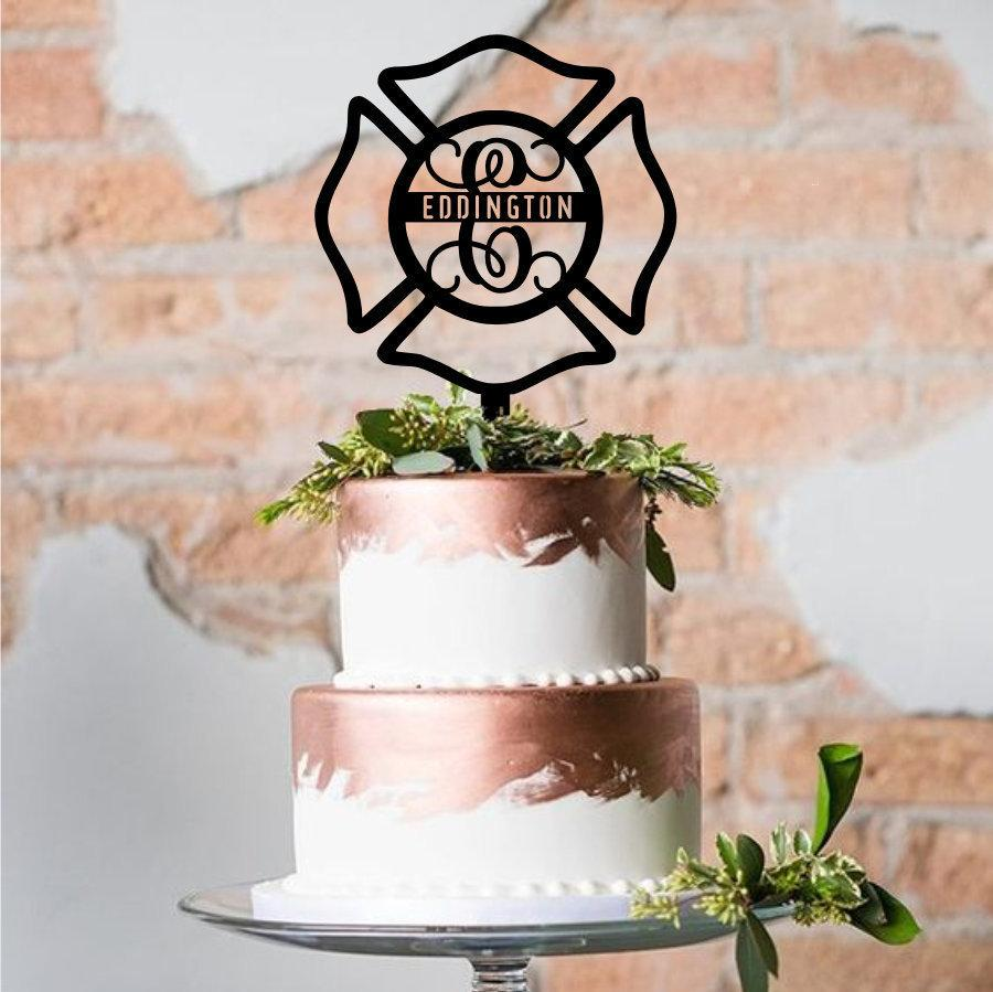 Wedding - Maltese Cross Cake Topper with Last Name-Custom Acrylic Cake Topper-Laser Cut -Variety of Colors-Firefighter's Cross-Wedding Cake Decoration