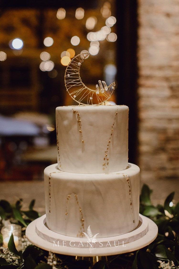 Wedding - Crystal Moon Cake Topper, Featured on BRIDES