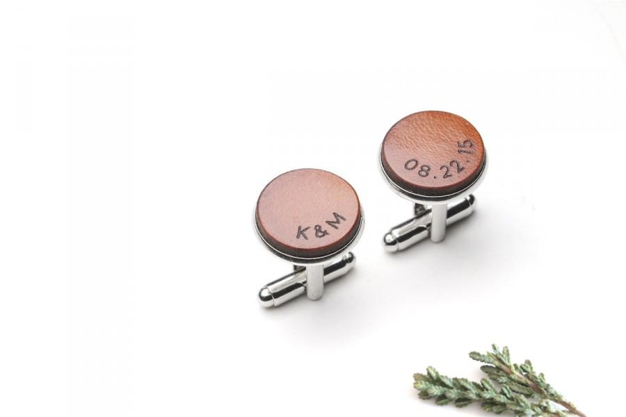Wedding - 3 Year anniversary gift for him, Personalized Leather Cufflinks