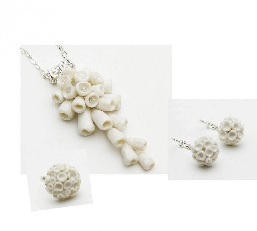 Wedding - Set White Pendant Earring Ring Floral Pendant Polymer Clay Flower White Necklace White Coral Imitation Pendant Ring For Women