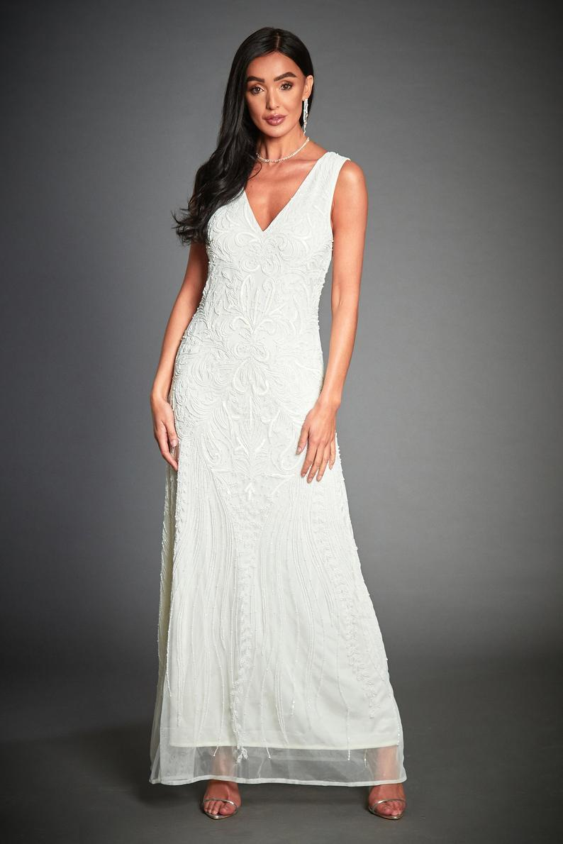 Anna Beaded 1920s Great Gatsby Inspired, Off White Wedding ...