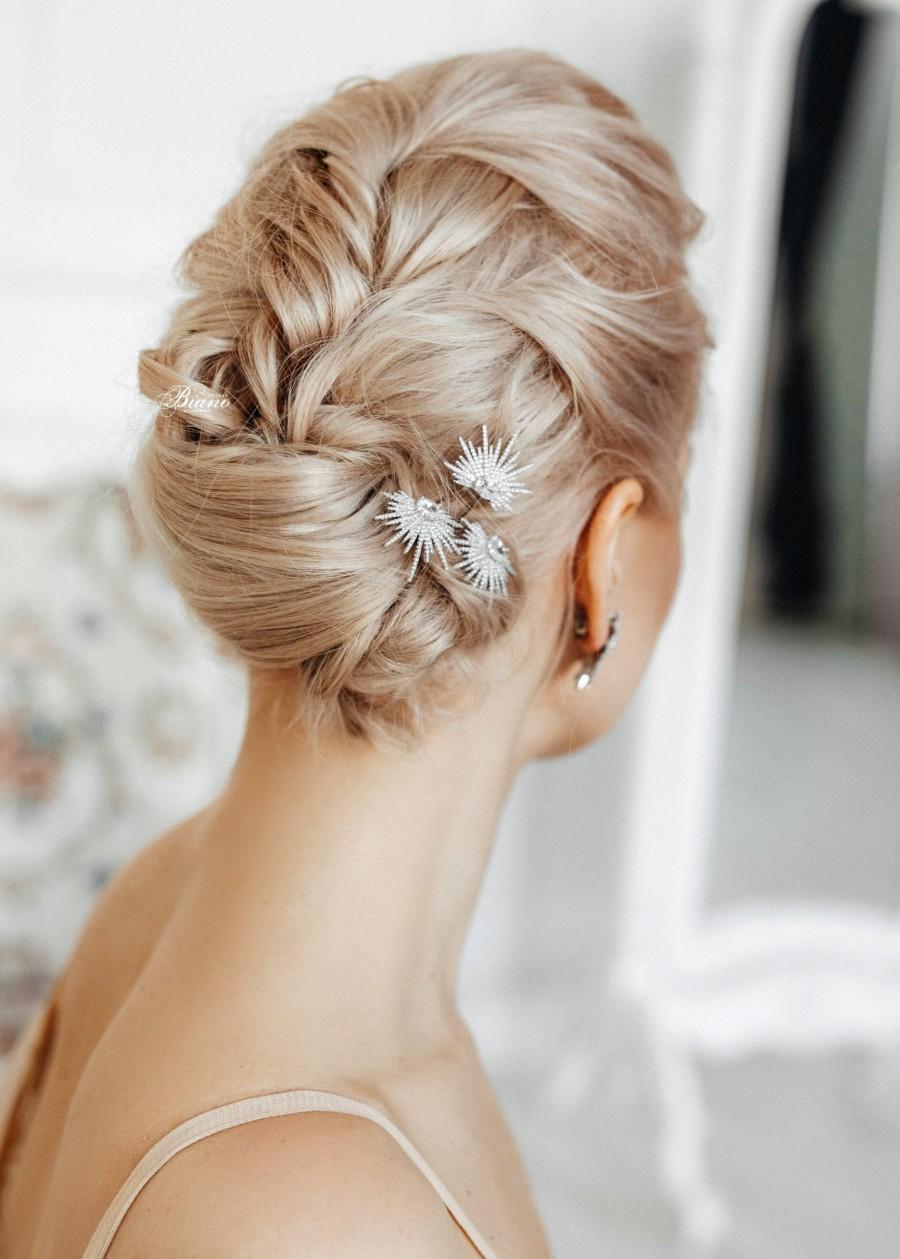 Wedding - Crystal hair pins Bridal silver hair pins Star hair pins Wedding hair clip crystal Bride hair jewelry Starburst hair pin Bridesmaid pin -Rue