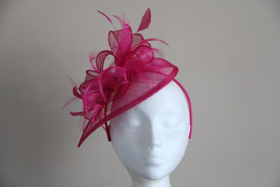 Wedding - Fuchsia Hot Pink Sinamay and Feather Fascinator Formal Hat on a hair band, Kentucky Derby, Ascot, Melbourne Cup