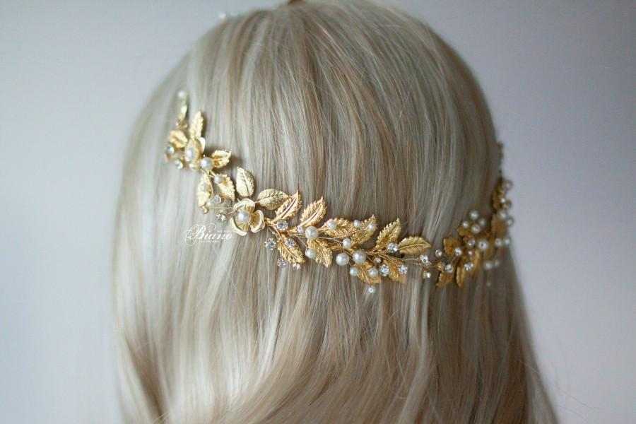 Wedding - Wedding Headpiece Boho, Gold Leaf Hair Piece,Wedding Headpiece, Leaf Headband, Wedding Hair Vine Wedding Tiara Bohemian Headpiece- Aurelia