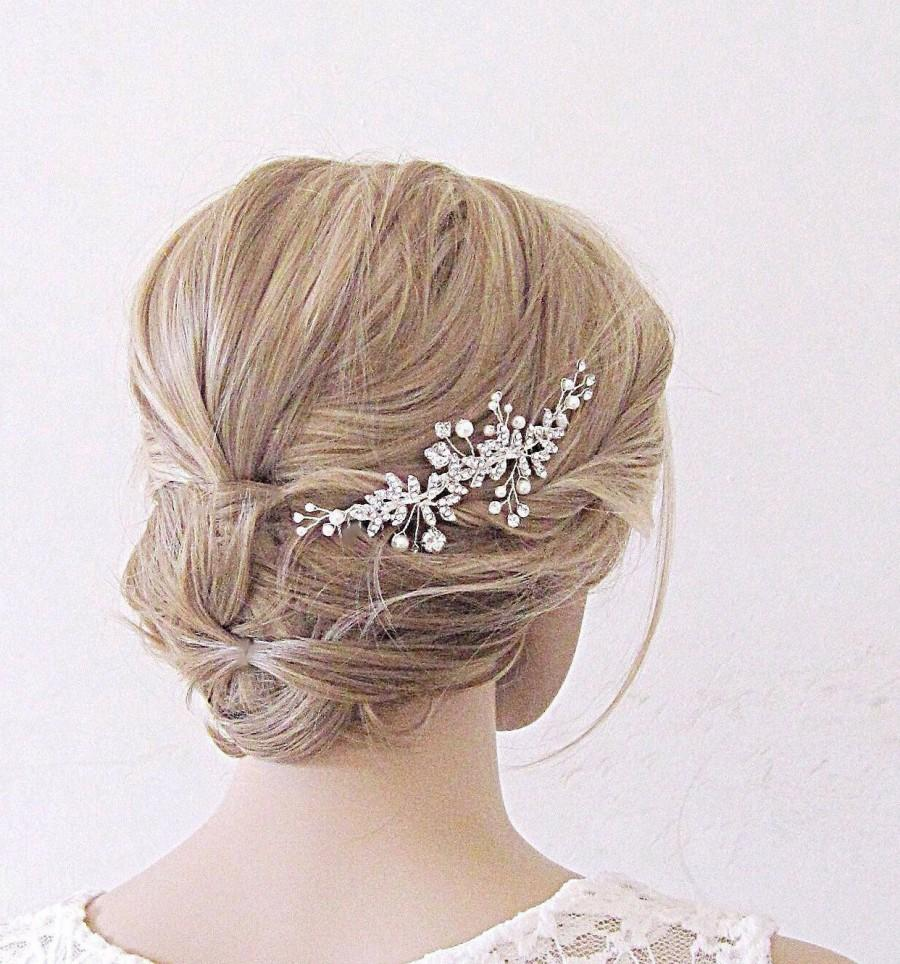 Wedding - Pearl And Crystal Hair Vine Pearl And Crystal Wedding Hair Piece Pearl Wedding Hair Vine Bridal Hair Piece Pearl Bridal Hair Vine