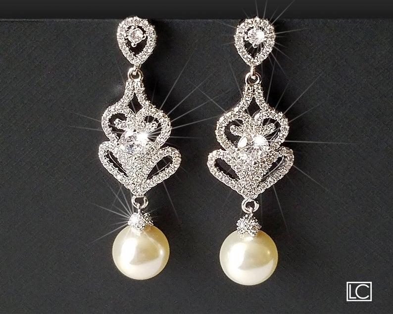Wedding - Pearl Chandelier Bridal Earrings, Swarovski Ivory Pearl Dangle Earrings, Pearl Bridal Jewelry, Wedding Pearl Jewelry, Pearl Silver Earrings