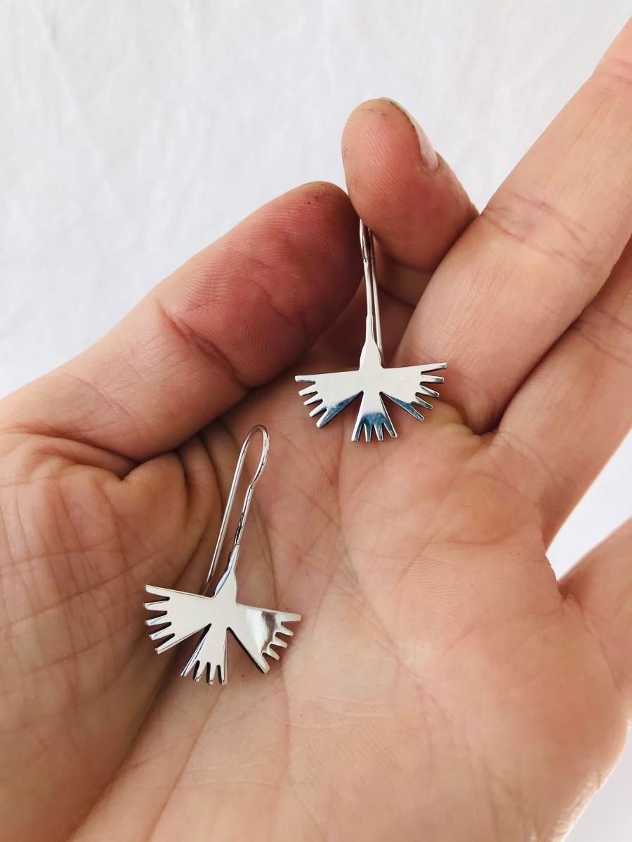 Wedding - Taxco Silver Earrings. Hummingbirds.