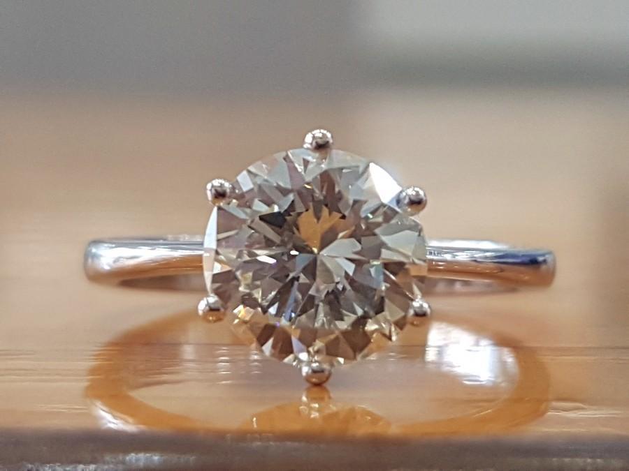 Wedding - 1 1/3 Carat H VVS Diamond Engagement Ring, Solitaire Diamond Ring, H VVS 1.36 Carat Diamond Ring, Round Diamond Promise Ring