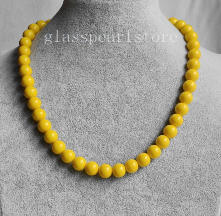 Wedding - 10mm yellow necklace, single yellow bead necklace, wedding necklace, bridesmaid necklace, women necklace, statement necklace