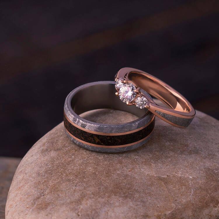 Wedding - Meteorite Wedding Rings, Rose Gold Ring Set With Dinosaur Bone And Meteorite
