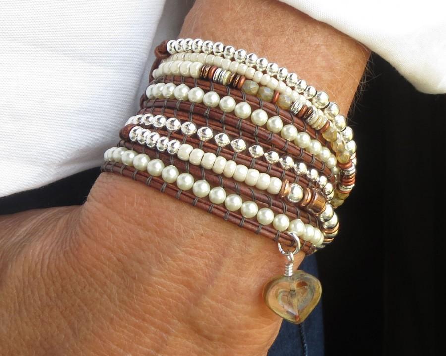 Wedding - Brown Leather Wrap Bracelet for Women, Pearl Beaded Bracelet, Boho Stack Bracelet, Bohemian Jewelry, Best Seller, Jewelry Gift