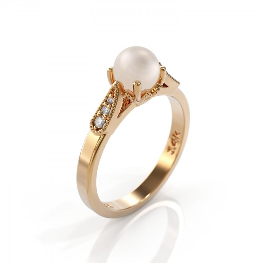 Wedding - Pearl Engagement Eing Rose Gold 5 mm Natural White Pearl Diamond Ring 14K solid gold