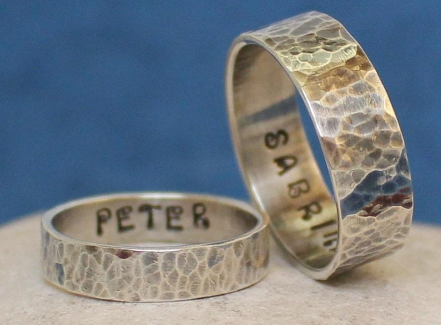Wedding - Promise Sterling Silver Rings - Engagement / Wedding Bands - Personalized - Handmade - Hammered.