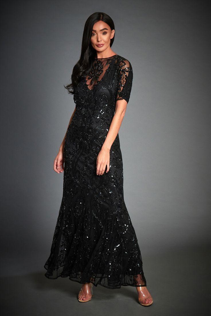 Wedding - Jywal Lilly Black 1920s Gatsby Maxi Dress
