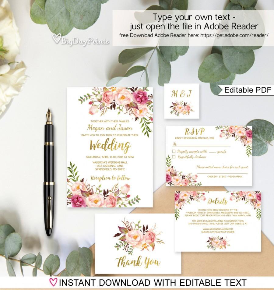 زفاف - Floral Wedding Invitation Template, White Boho Chic Wedding Invite Suite, Gold Foil Invite, #A010A, Editable PDF - you personalize at home.