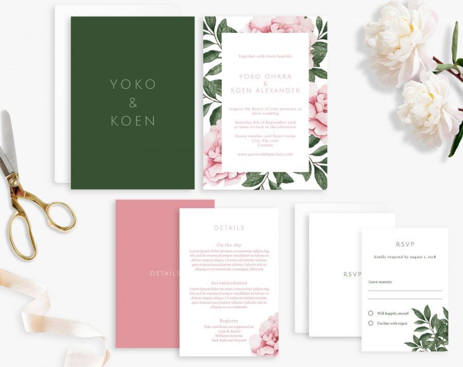 Hochzeit - Wedding Invitation Suite, Printable Wedding Invitation, Rose Leaf Wedding Invitation, Watercolor Wedding Invite, Digital File, Save the Date