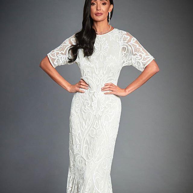 Wedding - Jywal Lilly White Beaded 1920s Great Gatsby Inspired, 3/4 Sleeve White Wedding Dress, Long White Maxi Gown, Plus Size Wedding Dress 1920s, S-XXXL