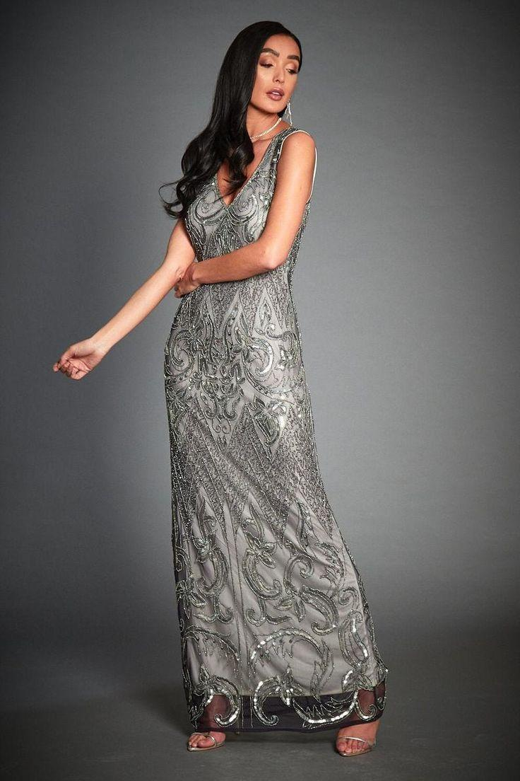 Wedding - Jywal Angie Embellished Flapper, 1920s Great Gatsby Inspired, Art Deco Evening Prom Dress, Downton Abbey, 20s Grey Wedding Dress, Plus Size, S-4XL
