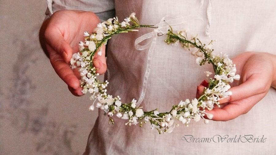 Wedding - Flower Girl Crown, Flower Girl Headband, Flower Crown Wedding, Ivory Flower Crown, Flower Girl Headpiece, Bride Flower Crown, Flower Wreath