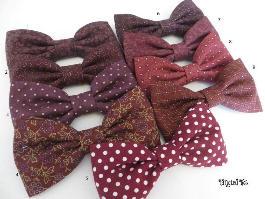 Wedding - Red Wine Cotton Bow Tie, Cabernet Mismatched Bow Ties, Burgundy Necktie, Vineyard Wedding, Self-Tie Bow Tie