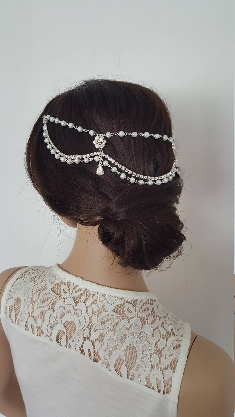 Mariage - Pearls and Crystals Flower Waterdrop Headpiece. Bridal Vintage Headpiece, Wedding Headchain, Boho Headpiece, Bridal Headchain.